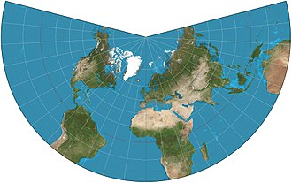 Lambert conformal conic projection - Lambert conformal conic projection with standard parallels at 20°N and 50°N. Projection extends toward infinity southward and so has been cut off at 30°S.
