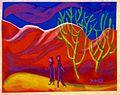 Landschaft mit Menschen, Margret Hofheinz-Döring, Pastell, 1982 (WV-Nr.1982).JPG