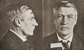 "Irish Citizen Army - ICA founder and leader James Larkin. Mugshot taken upon his 1919 arrest for ""criminal anarchism"" in New York state."