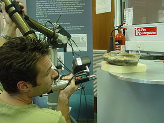 Allenton hippopotamus - Laser scanning Allenton Hippo canine tooth at Loughborough University