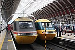 Last day of GWR HSTs - all together at Paddington 43185 and 43002.JPG