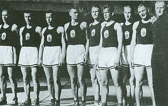 Latvia national basketball team - Latvia national basketball team members during EuroBasket 1935.