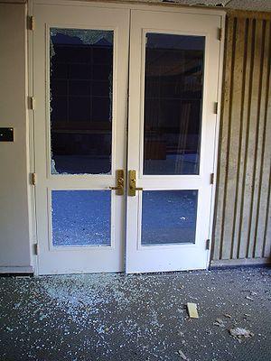 Vandalised door