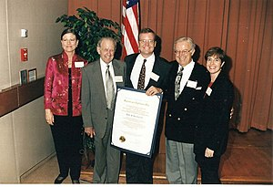 Lee Rogers Berger - Lee Berger receiving the 1st National Geographic Prize for Research and Exploration in Washington, D.C. in 1997. Pictured Left to Right: Vernita Berger (mother in law), Arthur B. Berger (grandfather), Lee Berger, Arthur L. Berger (father), Jacqueline Berger (wife)