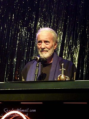 """Charlemagne: By the Sword and the Cross - Christopher Lee receiving the """"Spirit of Metal"""" award at the 2010 Metal Hammer Golden Gods awards ceremony."""