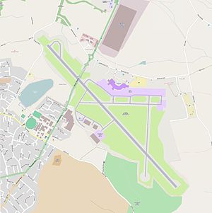 Leeds Bradford Airport - Street map of the airport site and surrounding areas.