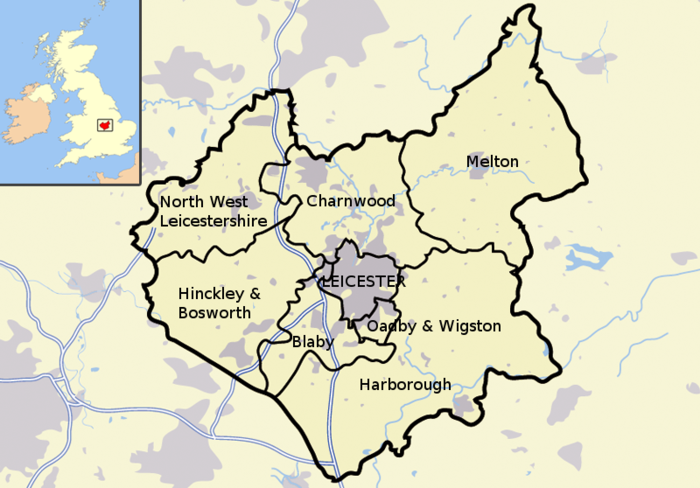 Leicestershire districts and boroughs Leicestershire districts.png