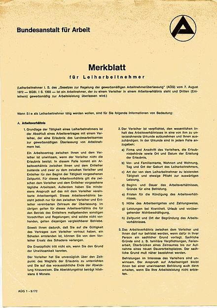 merkblatt fr leiharbeitnehmer der bundesanstalt fr arbeit das ein verleiher gem dem - Arbeitnehmeruberlassungsvertrag Muster