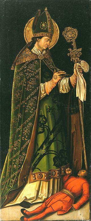 Der heilige Valentin(Ölmalerei von Leonhard Beck, um 1510)