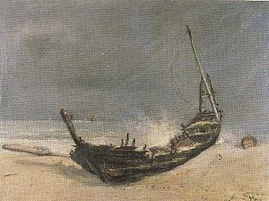 "Ludovic-Napoléon Lepic - Lepic's painting of ""The Smashed Boat"" was one of the medal-winners at the 1877 Salon"