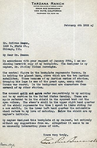 Edgar Rice Burroughs - Typescript letter, with Tarzana Ranch letterhead, from Burroughs to Ruthven Deane, explaining the design and significance of his bookplate