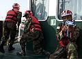 Liberian coast guardsmen participate in maritime interdiction training aboard the Spanish Civil Guard patrol ship Rio Segura March 9, 2014, in Dakar, Senegal, during exercise Saharan Express 2014 140309-N-QY759-116.jpg