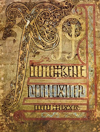 The illuminated Chi-rho page of the 8th-century Lichfield Gospels.