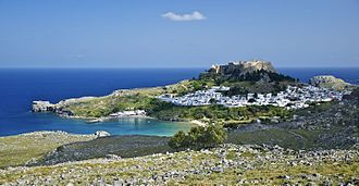 Rhodes - General view of the village of Lindos, with the acropolis and the beaches, island of Rhodes, Greece.