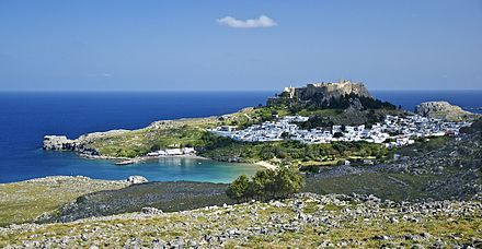 General view of the village of Lindos, with the acropolis and the beaches, island of Rhodes, Greece Lindos Rhodes 1.jpg