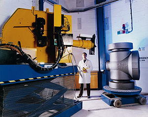 Linear particle accelerator - Steel casting undergoing x-ray using the linear accelerator at Goodwin Steel Castings Ltd