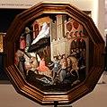 Lippo d'andrea (pseudo ambrogio di baldese), desco da parto con la giustizia di traiano e putto con tamburello e flauto, 01.jpg