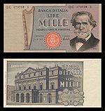 Дж. Верді зображений  на банкноті 1000 лір
