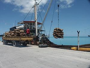 South Tarawa - Loading copra at Betio port, South Tarawa