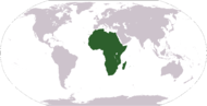 A world map showing the continent of Africa. (See Politics section for a clickable map of individual countries.)