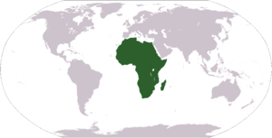 World map depicting Africa Esperanto: Mondmapo...