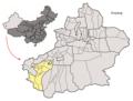 Location of Poskam within Xinjiang (China).png