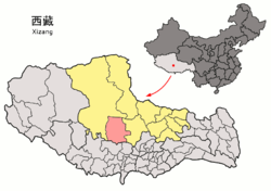 Location of Xainza County within Tibet