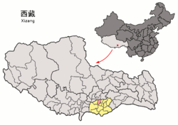 Location of Zhanang County within Tibet