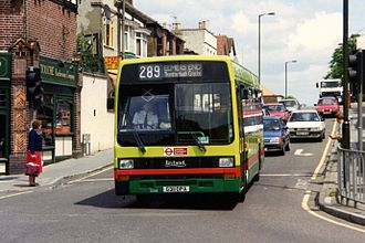 London Country South West - Leyland Lynx on route 289 in Purley in May 1993