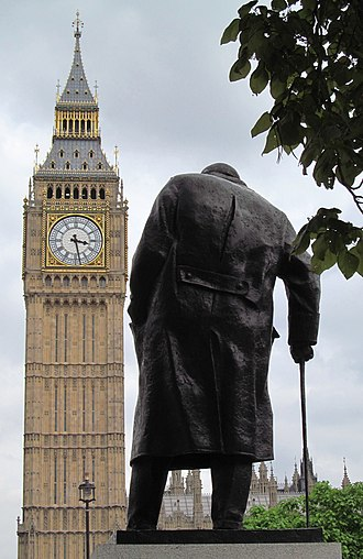 Statue of Winston Churchill, Parliament Square - The statue overlooks the Houses of Parliament