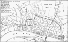 Globe theatre wikipedia the globe theatre is shown at the bottom centre of this london street map malvernweather Images