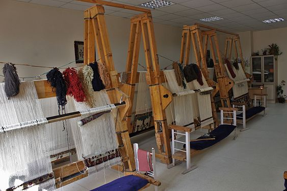 Looms for carpet in the school craft room 01.jpg