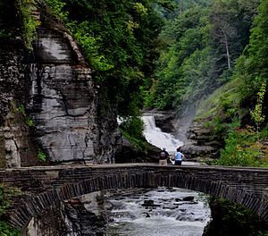 Letchworth State Park - Lower Falls and stone footbridge at Letchworth State Park
