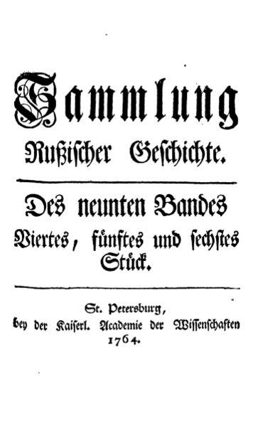 File:Müller - Sammlung Rußischer Geschichte (Titelblatt des neunten Bandes, 1764).jpg