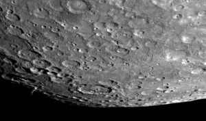 Wagner (crater) - View of the south polar region of Mercury taken by the spacecraft MESSENGER in 2008