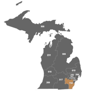Area code 734 - Map of area code 734 in Michigan.