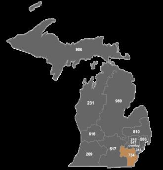 Area code 734 - Map of area code 734 in Michigan.