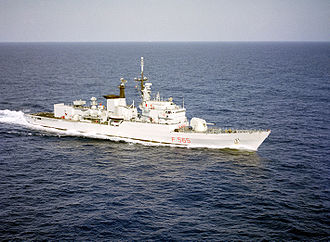 Lupo-class frigate - A starboard view of the Italian Lupo-class frigate Sagittario underway during exercise Distant Drum in 1983