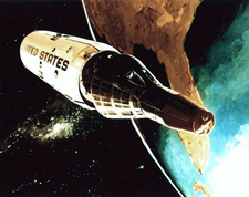 Artist's impression of two spacecraft separating from each other, backdropped against the Earth