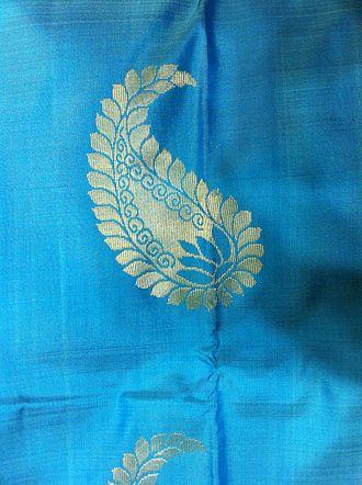 Paisley (design) - Silk sari with mankolam design, made in Kanchipuram
