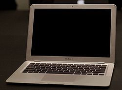"The MacBook Air, Apple's latest Mac, dubbed ""The world's thinnest notebook"". It was released at Macworld 2008."