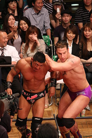 Magnum Tokyo - Magnum TOKYO wrestling against René Bonaparte in 2009.