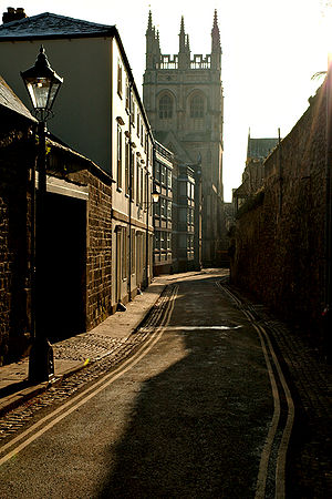Magpie Lane, Oxford - View south, towards Merton College Chapel