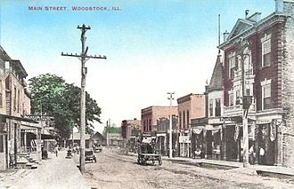 Woodstock, Illinois - Main Street looking north, circa 1910
