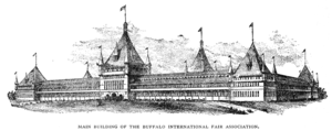 International Fair Association Grounds - Main building of the Buffalo International Fair Association, from an engraving published in 1888