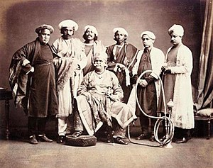 Benares State - Maharaja of Benares with his courtiers in the 1870s.