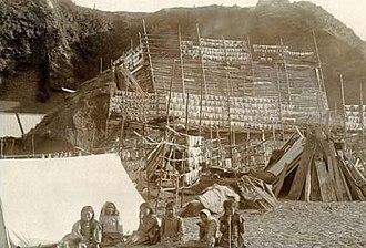Makah - A Makah settlement, circa 1900.