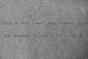 "The Lay of the Last Minstrel - ""This is my own, my native land""  quoted from The Lay of the Last Minstrel on Walter Scott's stone slab at the Makars' Court outside The Writers' Museum in Edinburgh"
