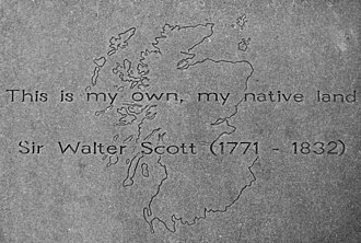 """The Lay of the Last Minstrel - """"This is my own, my native land""""  quoted from The Lay of the Last Minstrel on Walter Scott's stone slab at the Makars' Court outside The Writers' Museum in Edinburgh"""