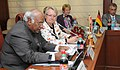 Mallikarjun Kharge addressing at the signing ceremony of the MoU between India and Germany, in New Delhi. The Federal Republic of Germany's Minister of Education and Research, Dr.(Mrs.) Annette Schavan is also seen.jpg